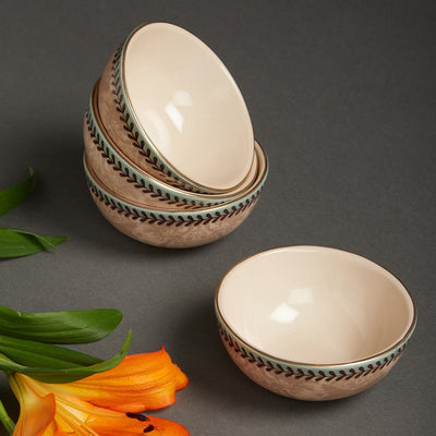 Pink Chidambaram Ceramic Round Veg Bowl (Set of 4) by Ritu Kumar Home - Home Artisan