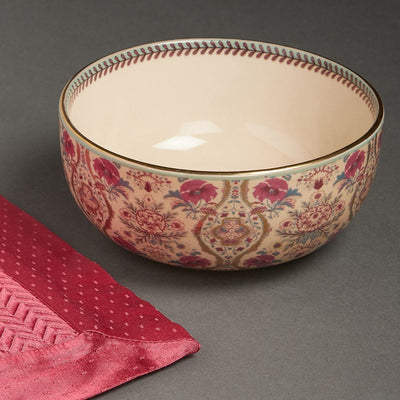 Pink Chidambaram Ceramic Round Serving Bowl (Large) by Ritu Kumar Home - Home Artisan