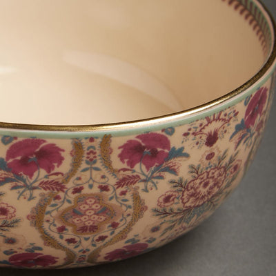 Pink Chidambaram Ceramic Round Serving Bowl (Large) by Ritu Kumar Home