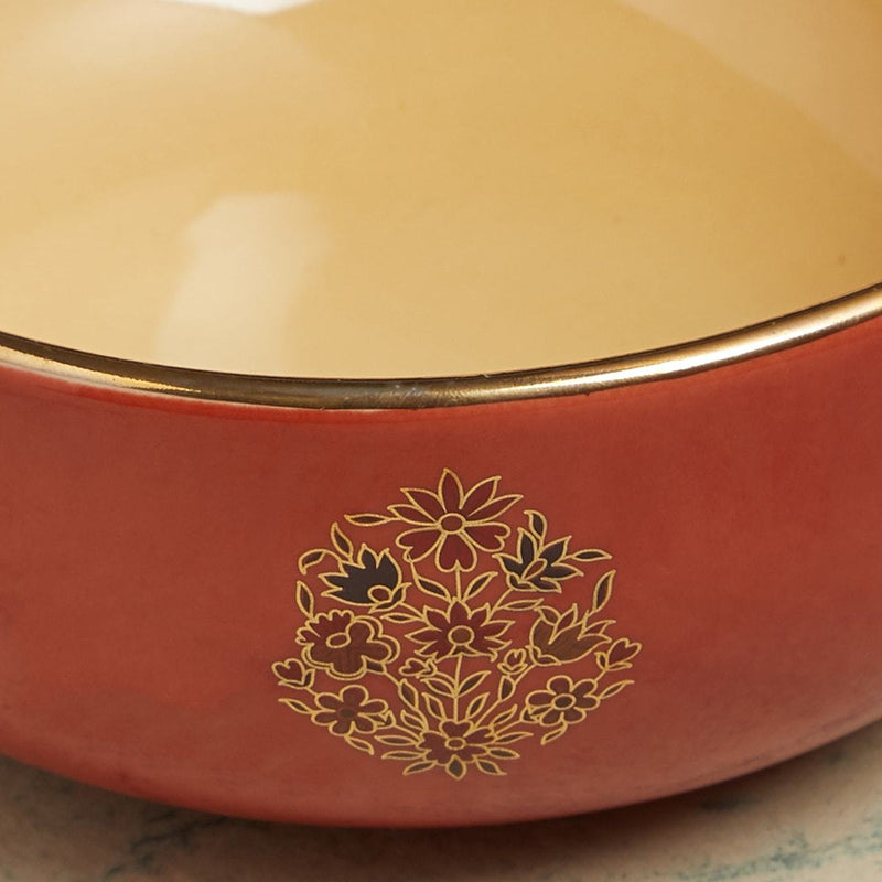 Rust Banki Ceramic Round Serving Bowl (Large) by Ritu Kumar Home - Home Artisan