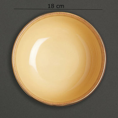 Rust Banki Ceramic Round Serving Bowl (Large) by Ritu Kumar Home