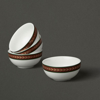Off White Baagh Katori (Set of 4) by Ritu Kumar Home - Home Artisan