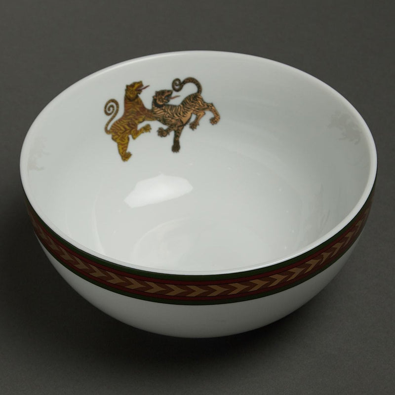 Off White Baagh Serving Bowl (Small) by Ritu Kumar Home - Home Artisan