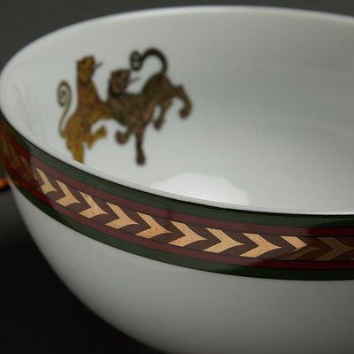 Off White Baagh Serving Bowl (Small) by Ritu Kumar Home