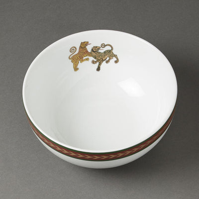 Off White Baagh Serving Bowl (Large) by Ritu Kumar Home