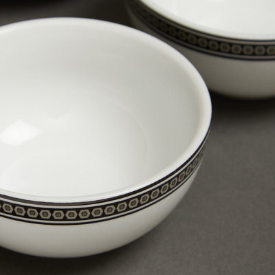 Black & White Awadh Porcelain Round Veg Bowl (Set of 4) by Ritu Kumar Home