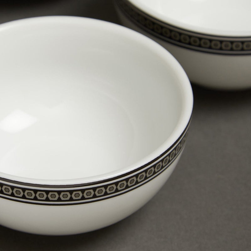 Black & White Awadh Porcelain Round Veg Bowl (Set of 4) by Ritu Kumar Home - Home Artisan