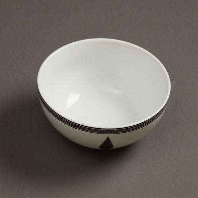 Black & White Awadh Porcelain Round Serving Bowl (Small) by Ritu Kumar Home - Home Artisan