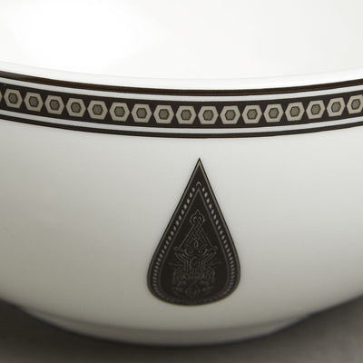 Black & White Awadh Porcelain Round Serving Bowl (Large) by Ritu Kumar Home
