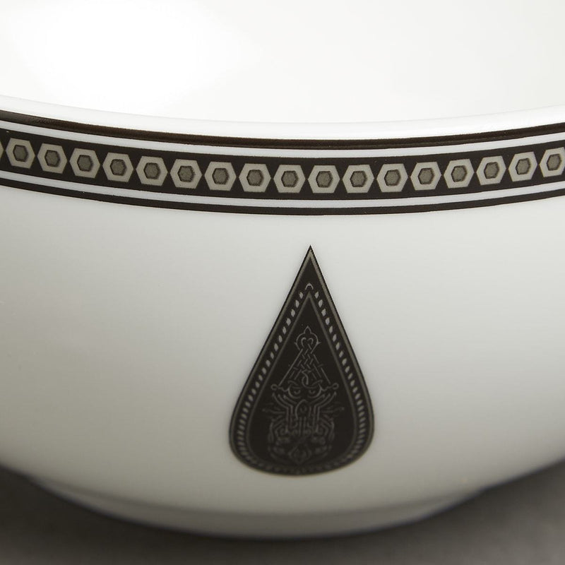 Black & White Awadh Porcelain Round Serving Bowl (Large) by Ritu Kumar Home - Home Artisan