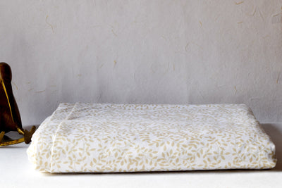beige-leaf-pattern-bed-sheet-1-Home Artisan