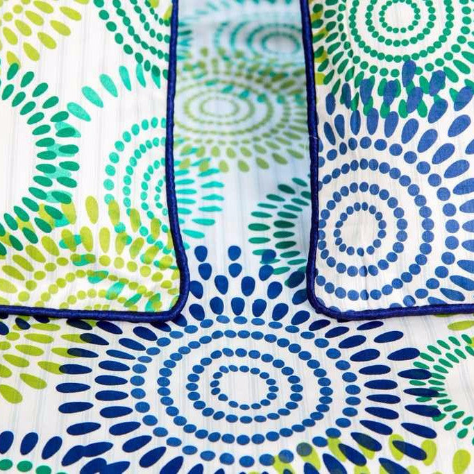 Blue and Green Concentric Circles Bed Sheet