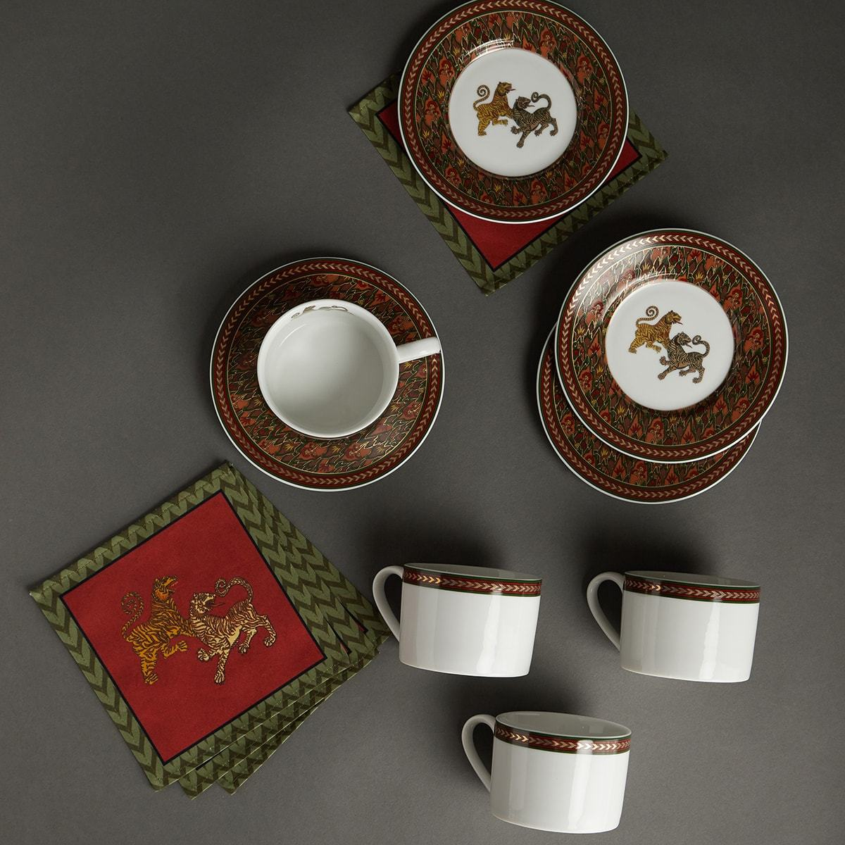 Off White Baagh 4 Cups With 4 Saucers Set by Ritu Kumar Home - Home Artisan