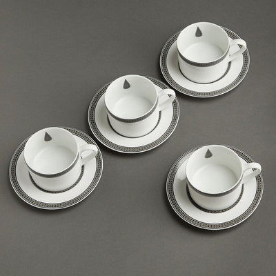 Black & White Awadh Porcelain Cup and Saucer (Set of 4) by Ritu Kumar Home - Home Artisan