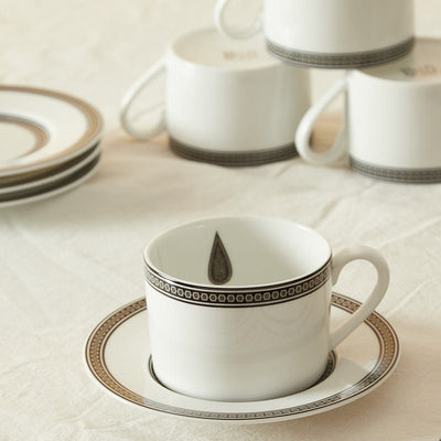 Black & White Awadh Porcelain Cup and Saucer (Set of 4) by Ritu Kumar Home