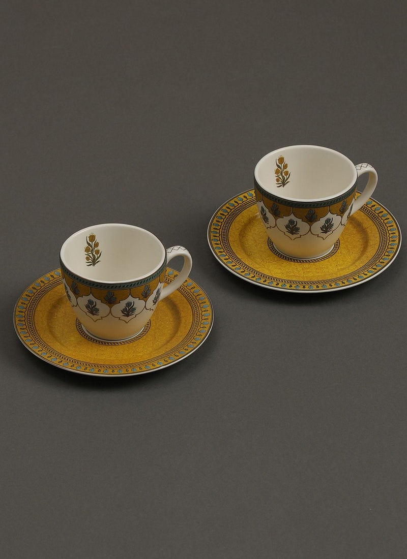 Yellow Jalmahal Tea Set (Set of 2) by Ritu Kumar Home - Home Artisan