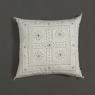 Ecru Square Cushion With Filler by Ritu Kumar Home - Home Artisan