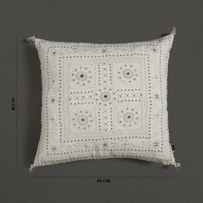 Ecru Square Cushion With Filler by Ritu Kumar Home