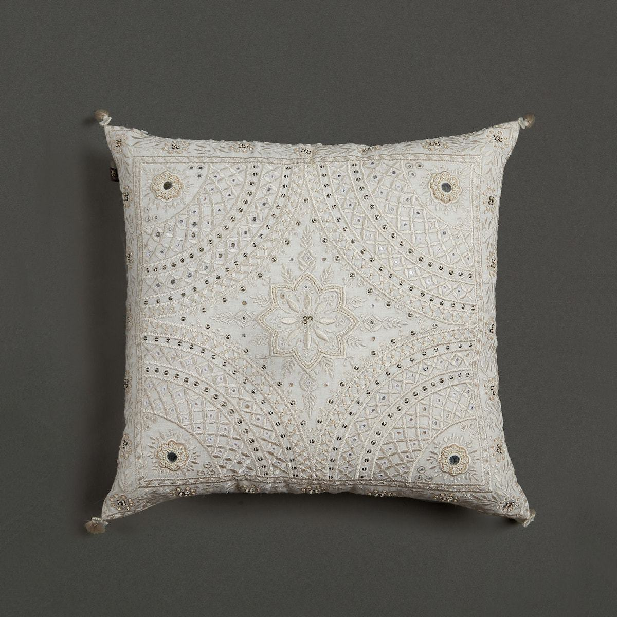 Ecru Embroidered Square Cushion With Filler by Ritu Kumar Home - Home Artisan