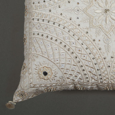 Ecru Embroidered Square Cushion With Filler by Ritu Kumar Home