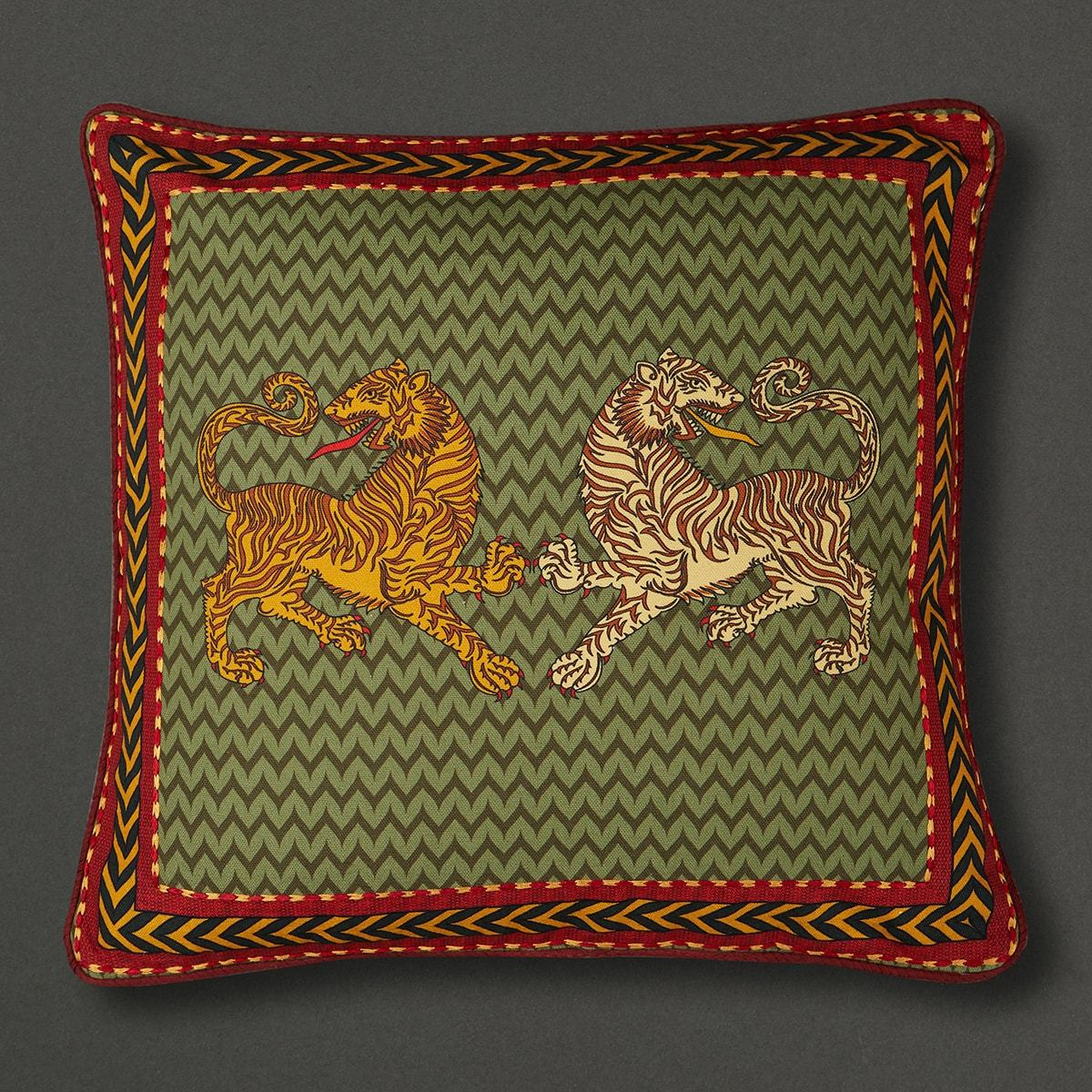 Green Baagh Square Cushion With Filler by Ritu Kumar Home