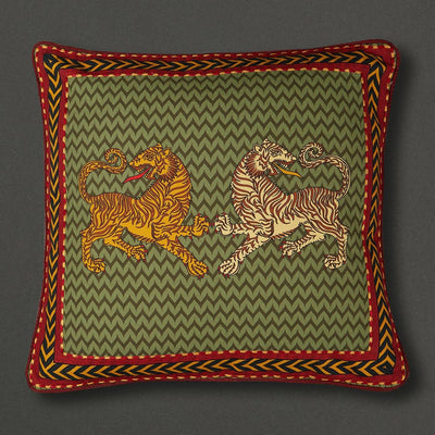 Green Baagh Square Cushion With Filler by Ritu Kumar Home - Home Artisan