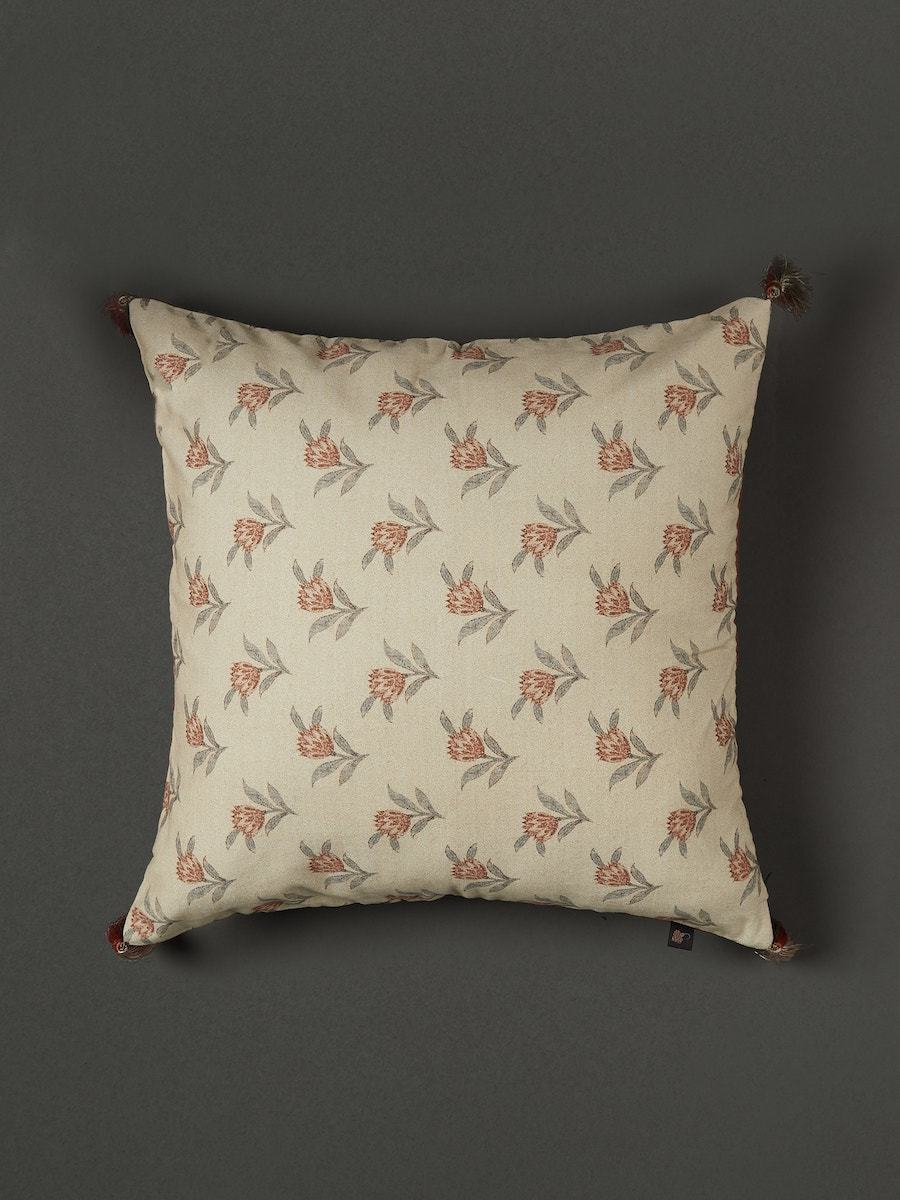Beige Floral Print Cushion with Filler by Ritu Kumar Home