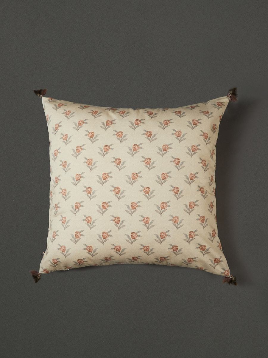 Beige & Rust Cushion with Filler by Ritu Kumar Home