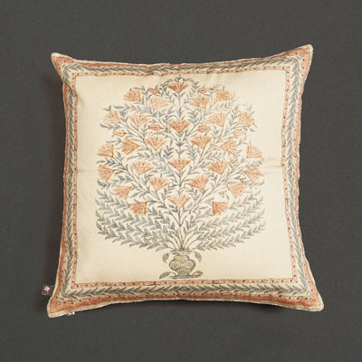 Beige Square Cushion With Filler by Ritu Kumar Home - Home Artisan