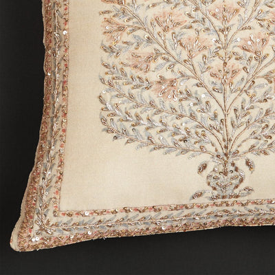Beige Square Cushion With Filler by Ritu Kumar Home