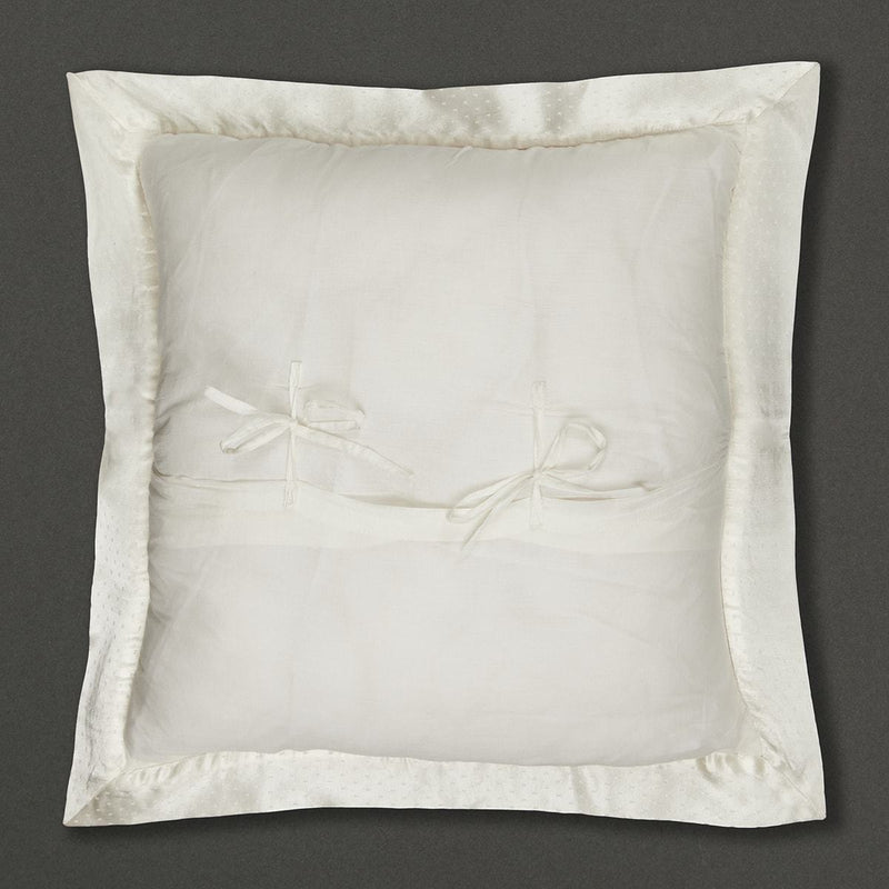 Ivory Chameli Square Cushion with Filler by Ritu Kumar Home - Home Artisan