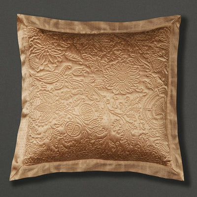 Beige Jaamevar Square Cushion with Filler by Ritu Kumar Home - Home Artisan