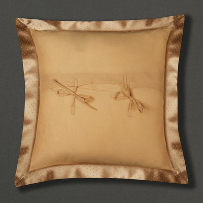 Beige Jaamevar Square Cushion with Filler by Ritu Kumar Home