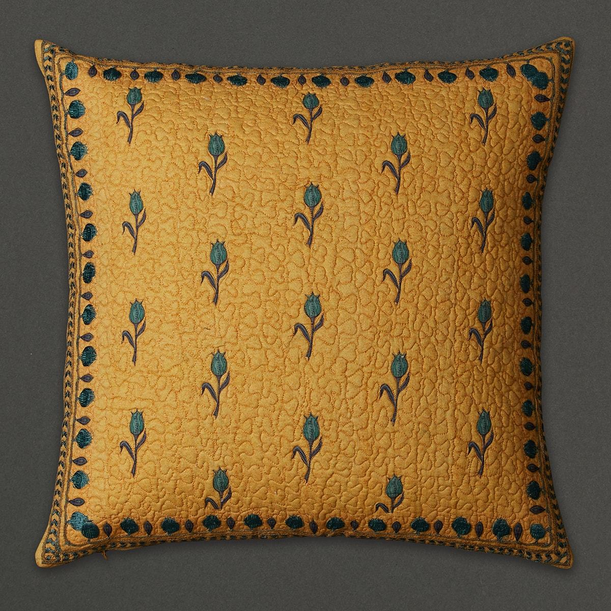 Yellow Jal Mahal Square Cushion with Filler by Ritu Kumar Home