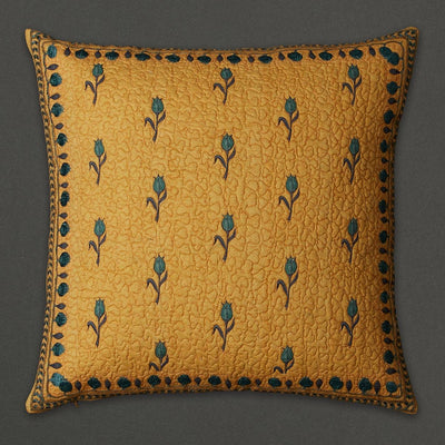 Yellow Jal Mahal Square Cushion with Filler by Ritu Kumar Home - Home Artisan