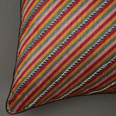 Red Kalamkari Rectangle Cushion with Filler by Ritu Kumar Home