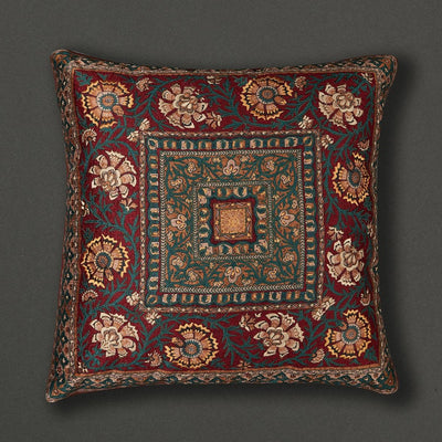 Red Kalamkari Square Cushion with Filler by Ritu Kumar Home - Home Artisan