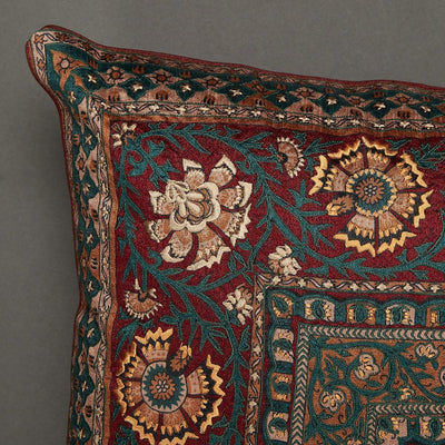 Red Kalamkari Square Cushion with Filler by Ritu Kumar Home