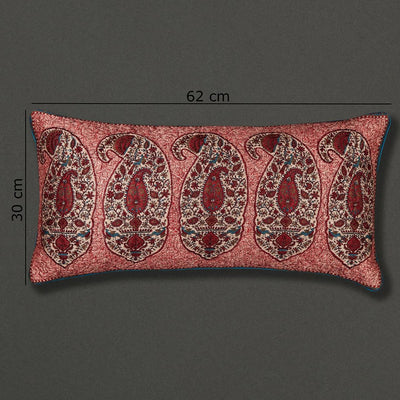Red Kalash Rectangle Cushion with Filler by Ritu Kumar Home