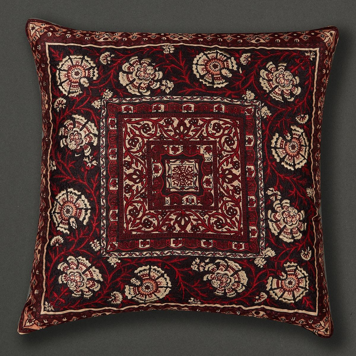 Red Agora Square Cushion with Filler by Ritu Kumar Home - Home Artisan
