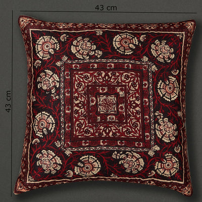 Red Agora Square Cushion with Filler by Ritu Kumar Home