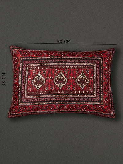 Red Agora Cushion With Filler by Ritu Kumar Home