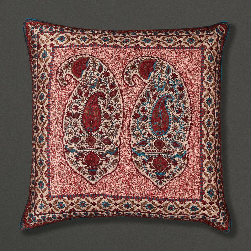 Red Kalash Square Cushion with Filler by Ritu Kumar Home - Home Artisan