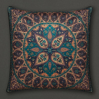 Blue Jaamevar Square Cushion with Filler by Ritu Kumar Home - Home Artisan