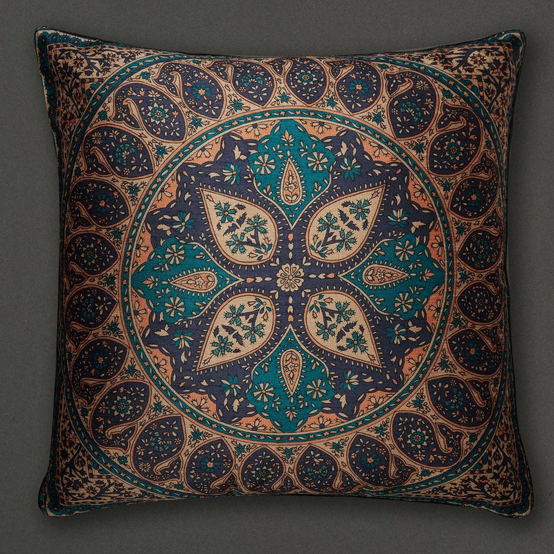 Blue Jaamevar Square Cushion with Filler by Ritu Kumar Home