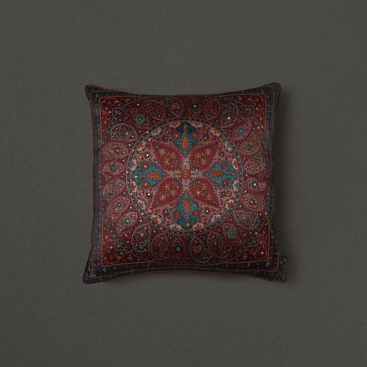 Turquoise Saadh Cushion With Filler by Ritu Kumar Home - Home Artisan