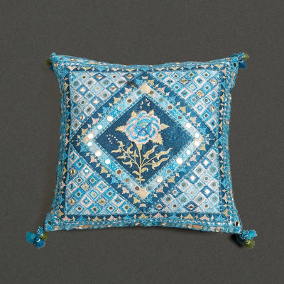 Blue Kutch Print Square Cushion With Filler by Ritu Kumar Home