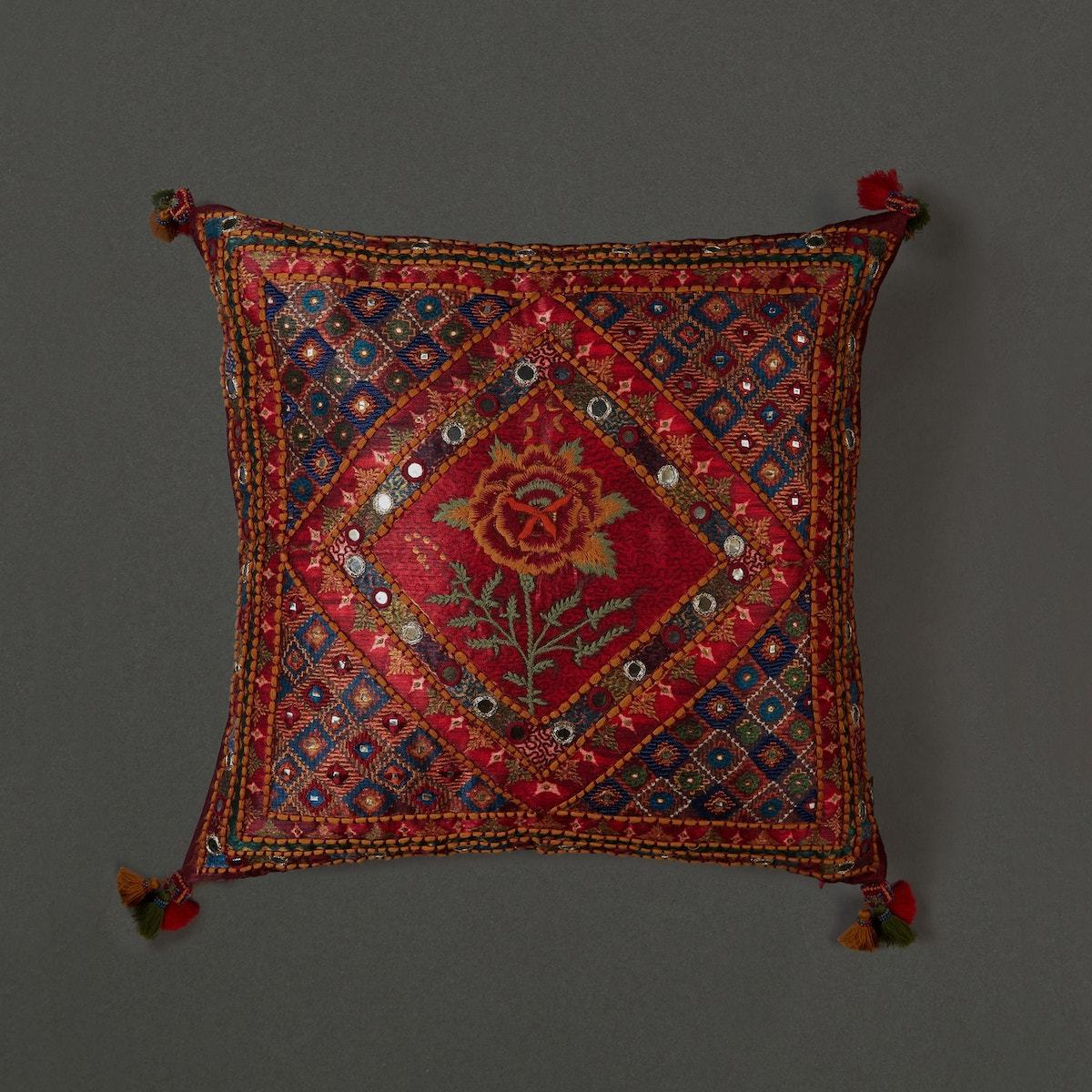 Red Kutch Print Square Cushion With Filler by Ritu Kumar Home - Home Artisan