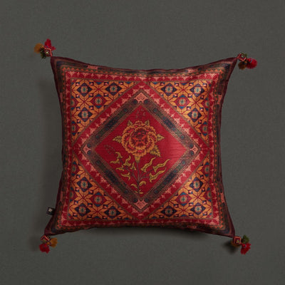Red Kutch Print Square Cushion With Filler by Ritu Kumar Home
