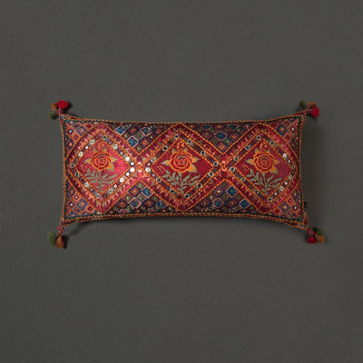 Red Kutch Print Rectangle Cushion With Filler by Ritu Kumar Home - Home Artisan